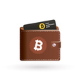 Bitcoin wallet logo with bank card vector image
