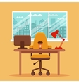 colorful office desk with indoor plants vector image