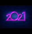 2021 new year glowing pink neon signboard vector image