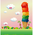 A giant ice cream at the hilltop vector image vector image