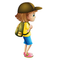 A young girl ready for hiking vector image