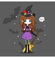 Adorable little witch Halloween vector image