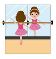 ballerina in front of the mirror vector image vector image