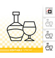 bottle simple black line wine glass icon vector image
