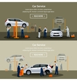 Car repair service flat horizontal banner vector image vector image