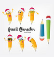 cartoon pencil character isolated emoji vector image