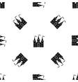 castle pattern seamless black vector image vector image