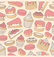 chocolate pastry seamless pattern with cakes vector image