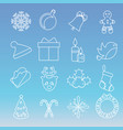christmas and new year icons set of winter vector image vector image