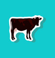 cow paper sticker on stylish background vector image