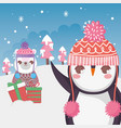 cute polar bear and penguin with gift snow vector image