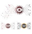 damaged dot halftone digital casino circuit icon vector image vector image