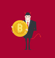 devil businessman holding bitcoin in hand vector image