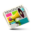 dialy paper newspapers icon with megaphone vector image vector image