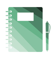Exercise book with pen icon vector image vector image