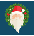 Flat design of Santa Claus and christmas wreath vector image vector image