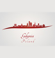 gdynia skyline in red vector image vector image