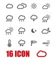 grey weather icons set vector image vector image