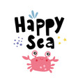 happy crab vector image vector image