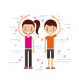happy man and woman in casual clothing waving hi vector image vector image