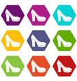 high heel shoes icon set color hexahedron vector image vector image