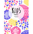 kids party colorful poster with date can be used vector image vector image