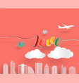love letter with airplane bird and cloud with vector image vector image
