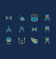optical fiber flat line icons network vector image vector image