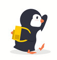penguin bird going to school vector image vector image