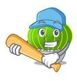 playing baseball cartoon notocactus beautiful on vector image