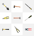 realistic pliers spade tongs and other vector image vector image