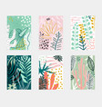 set abstract tropical flowers poster templates vector image