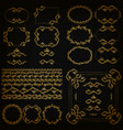 set of gold decorative hand-drawn floral elements vector image vector image