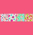 set seamless patterns with exotic hibiscus and vector image vector image