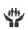shelter hand with family icon vector image