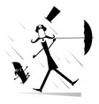 strong wind mustache man in the top hat with umbr vector image