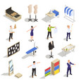 tailor atelier isometric set vector image vector image