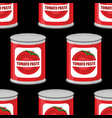 tomato paste seamless pattern cans texture iron vector image vector image