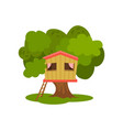 tree house hut on green tree for kids outdoor vector image vector image