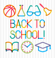 Trendy multiply education icons and phrase Back to vector image