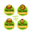 vegan logos and icons vector image vector image