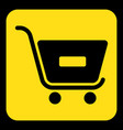 yellow black sign - shopping cart minus vector image vector image