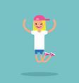 young winking jumping girl flat editable vector image vector image