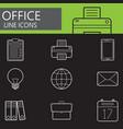 office line icons set outline symbol vector image