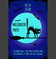 a halloween party banner with a black cat on witch vector image vector image