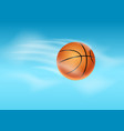 basketball ball flying background vector image vector image