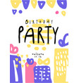 birthday party colorful template with date can be vector image vector image