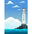 blue sea with waves and lighthouse vector image