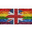 Brick Wall Great Britain and Gay flags vector image vector image