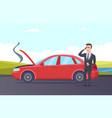 car breakdown road assistance cartoon vector image